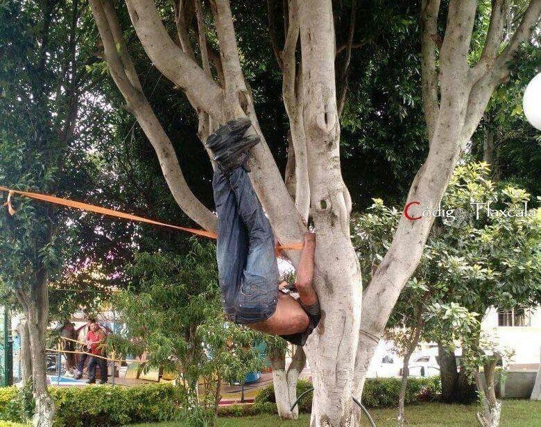Cuelgan de un árbol a presunto asaltante en Xiloxoxtla
