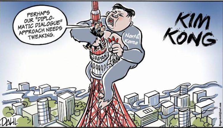 02 Caricatura alusiva al segundo lanzamiento coreano este mes. (japantimes.co.jp)