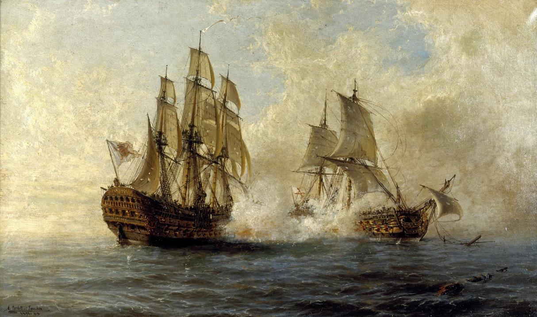 El cuadro retirado del Museo Naval Combate-del-Glorioso-y-el-HMS-Dartmouth-pintado-en-1891-por-%C3%81ngel-Cortellini-S%C3%A1nchez.-Museo-Naval-de-Madrid.-FOTO-artsandculture.google.com_